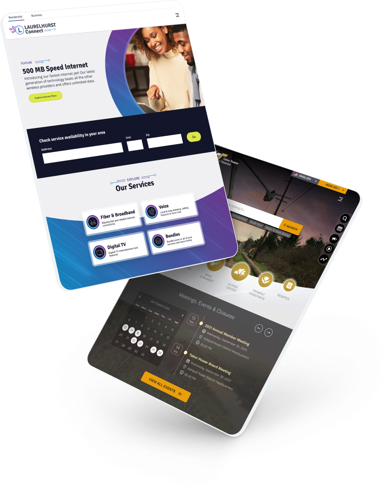 two tablets showcasing website designs